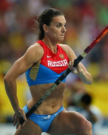 Елена Исинбаева на чемпионате мира по легкой атлетике в Москве. 2013 год