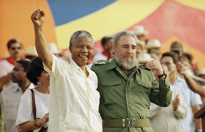 Нельсон Мандела и Фидель Кастро