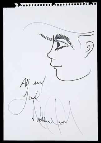 Шарж Майкла Джексона с его автографом