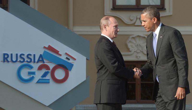 Владимир Путин и Барак Обама встретились на саммите G20 в Санкт-Петербурге.