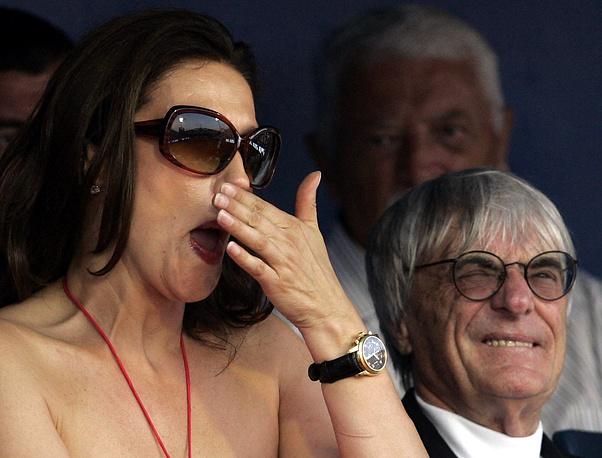 Берни Экклстоун с супругой Славикой Экклстоун, с которой развелся в 2009 г. Разница супругов в возрасте составляла 28 лет.
