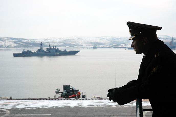"""На авианосце """"Адмирал Кузнецов"""". Североморск. 2 февраля 2008 г."""