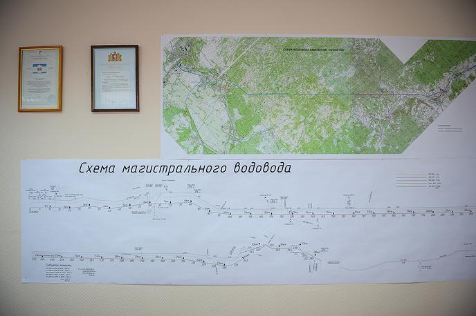 """Схема магистрального водовода """"Камышлов-Сухой Лог"""" в здании Администрации городского округа Сухой Лог"""