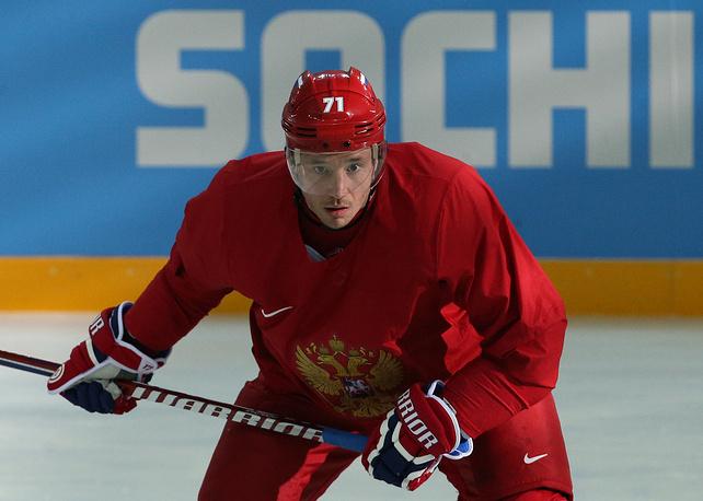 Игрок сборной России Илья Ковальчук во время тренировки