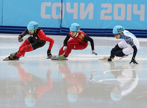 Канадский спортсмен Шарль Амлен, китайский спортсмен Тянью Хань и российский спортсмен Виктор Ан (слева направо)