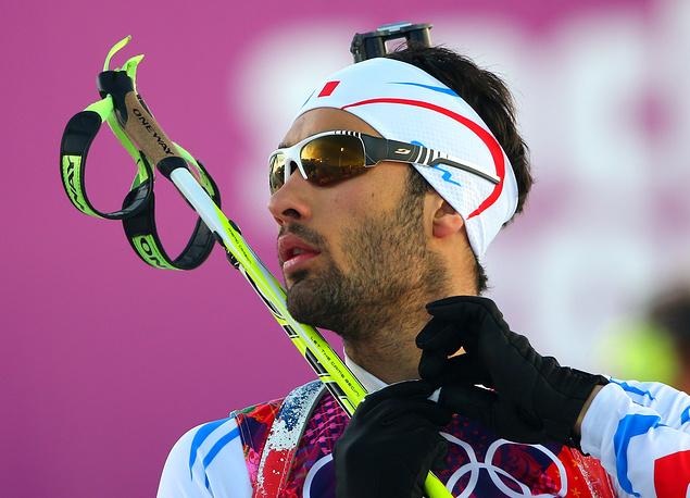 Французский биатлонист Мартен Фуркад после завершения гонки на 20 км по биатлону