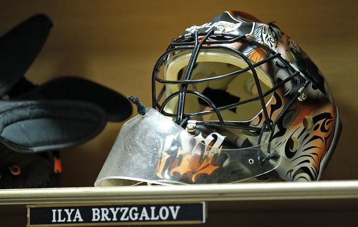 """Когда Илья Брызгалов перешел в """"Филадельфию Флайерз"""", он изобразил на маске тигров, окрас которых совпадает с клубными цветами. Вратарь рассказывал, что идею ему подсказали его дети"""