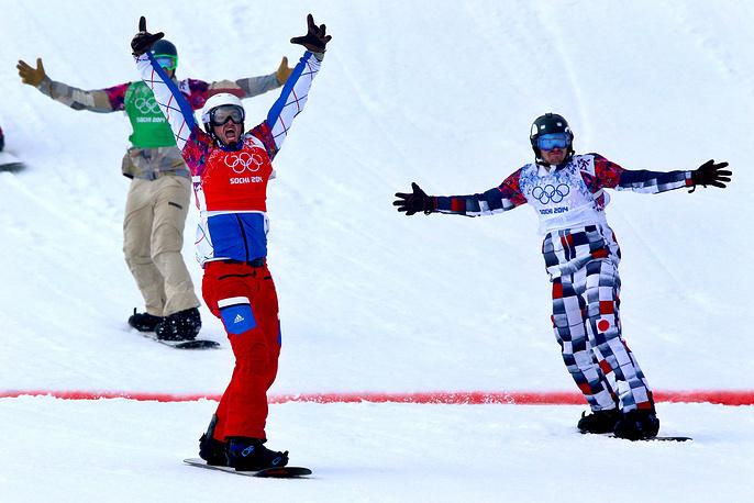 Российский спортсмен Николай Олюнин и французский спортсмен Пьер Вольтье (справа налево)