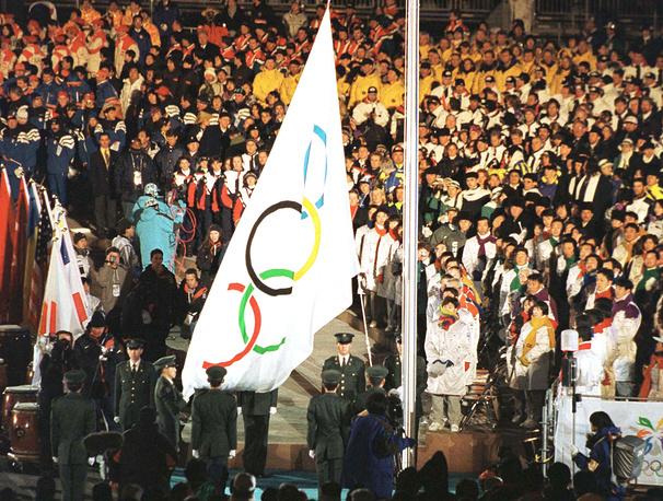 Церемония закрытия в Нагано, Япония, 1998 год. XVIII зимние Олимпийские игры проводились с 7 по 22 февраля