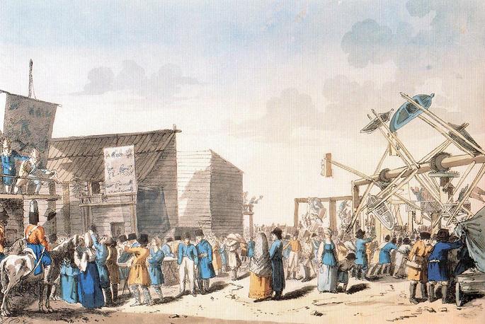 Балаганы и качели.  А. Г. Убиган с гравюры 1803 г. Д. А. Аткинсона. 1817 г.