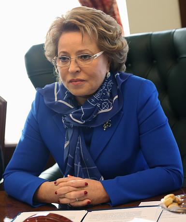 Председатель Совета федерации Валентина Матвиенко. Санкции введены администрацией президента США и Евросоюзом