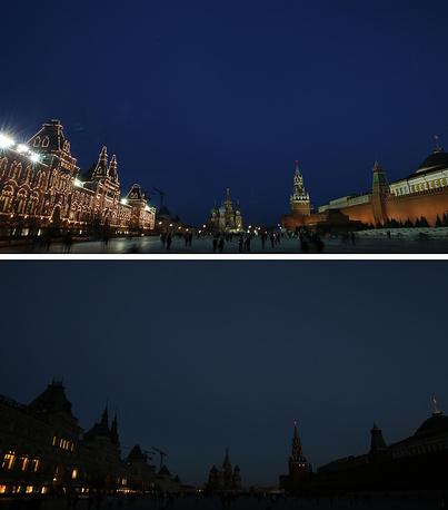 Москва, ГУМ, храм Василия Блаженного и Спасская башня на Красной площади