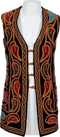 Жилетка Джими Хендрикса, изготовленная из бордового вельвета, украшенная вышивкой и разноцветными стразами