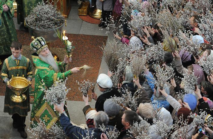 Освящение вербы в соборе Казанской иконы Божьей матери, 2013 год