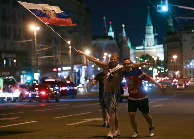 Сразу после победы в финале мирового первенства на улицах Москвы началось празднование, продолжавшееся до утра