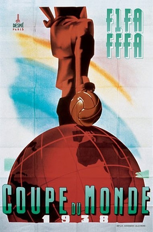 Плакат ЧМ-1938 во Франции. Итальянцы выиграли второй турнир подряд, в решающей игре они победив команду Венгрии - 4:2