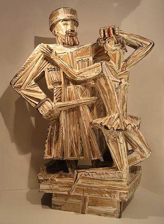 Дмитрий Каминкер. Воин-фундаменталист, убивающий балерин Большого театра. 2012. Гофрокартон, темпера