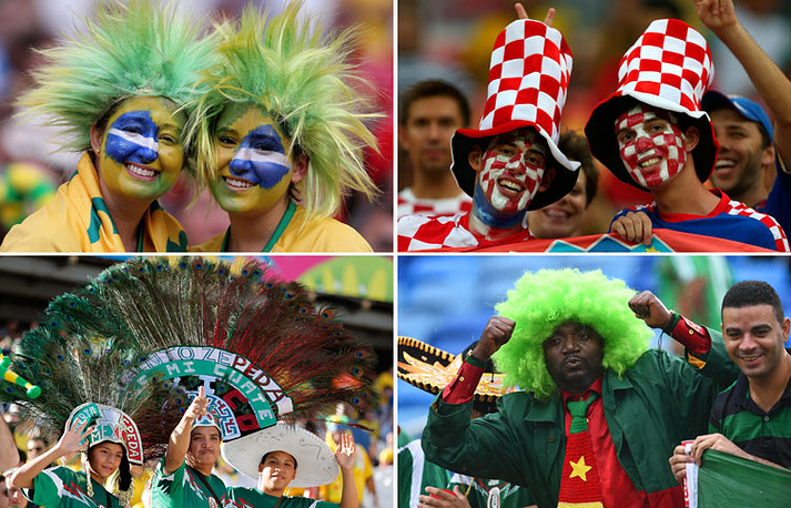 Болельщики из Бразилии, Хорватии, Мексики и Камеруна