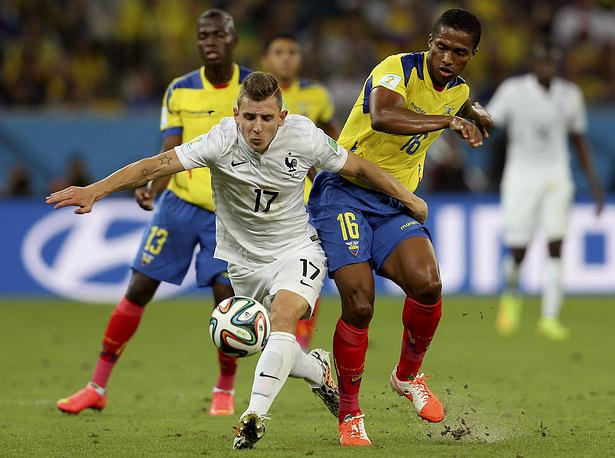 20-летний французский защитник Люка Динь во встрече с командой Эквадора впервые сыграл на чемпионате мира