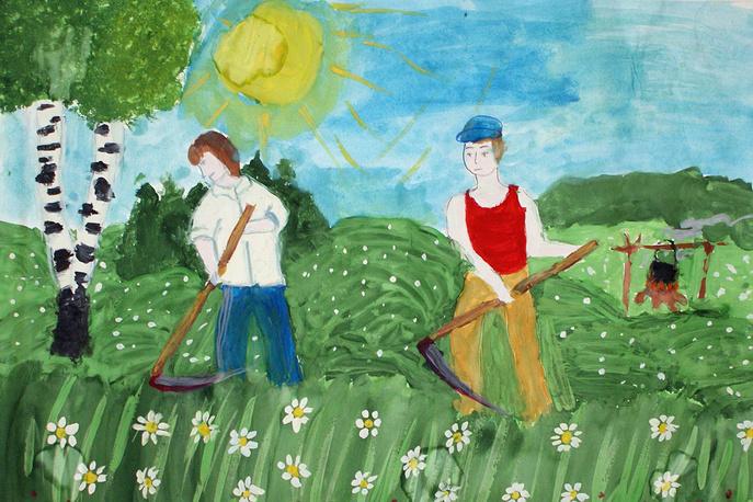 Рисунок с детского конкурса на Турнире косарей