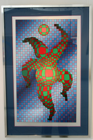 Клоун с мячом. Виктор Вазарели. Шелкография. 1987 год
