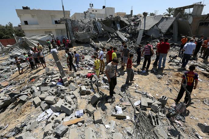 Последствия авиаударов ВВС Израиля по сектору Газа