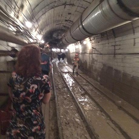 """В тоннеле между станциями """"Славянский бульвар"""" и """"Парк Победы"""""""