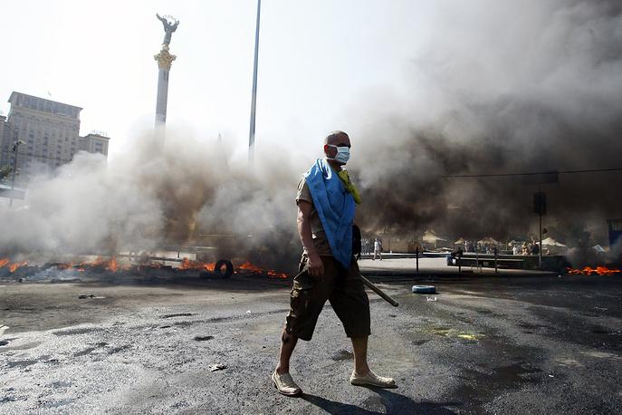 Последствия беспорядков в центре Киева