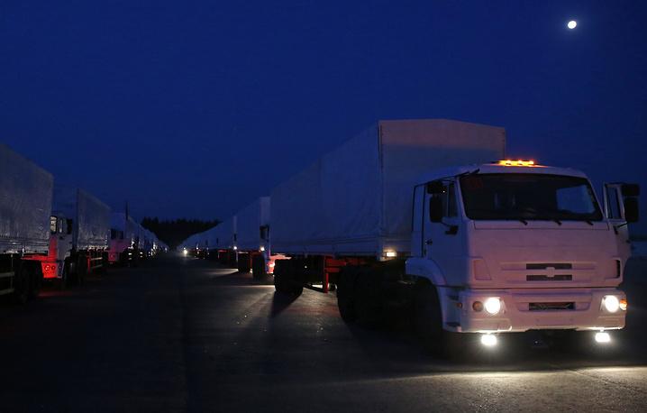 Автоколонна с гуманитарной помощью жителям юго-востока Украины выехала из Подмосковья утром 12 августа
