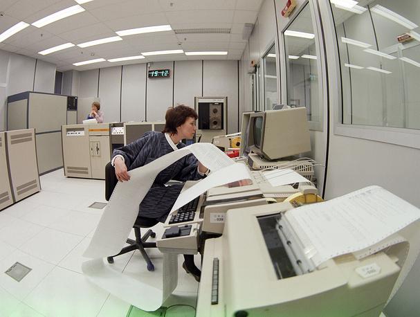 Машинный зал автоматизированной системы фотонабора печатных изданий ТАСС, 1988 год