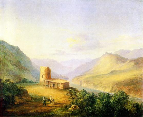 """""""Военно-Грузинская дорога близ Мцхета"""" (масло,1837)"""