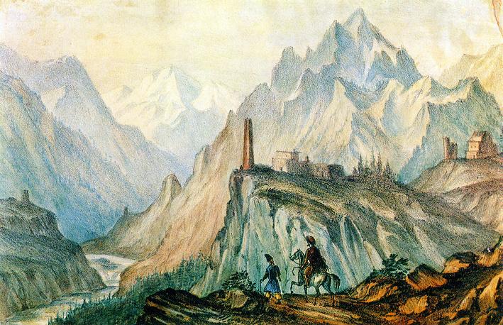 """""""Вид Крестовой горы из ущелья близ Коби"""" (автолитография, раскрашенная акварелью,1837-1838)"""