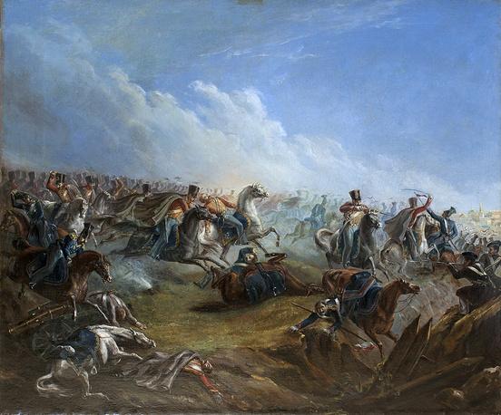 """Атака лейб-гвардии гусар под Варшавой 26 августа 1831 года"" (масло, 1837)"
