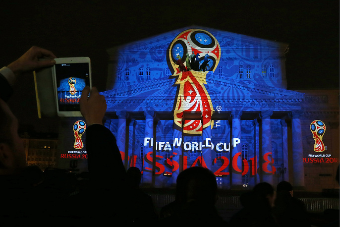 Также символика чемпионата была продемонстрирована на здании Большого театра в Москве