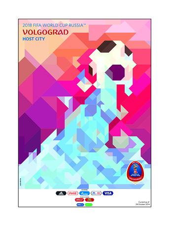 Волгоград. В основе плаката Волгограда - Волга, на которой стоит город. Могучий речной поток олицетворяет эмоции, с которым связывают волгоградцы проведение в городе мирового турнира