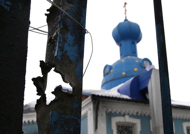 Последствия артобстрела в Куйбышевском районе Донецка