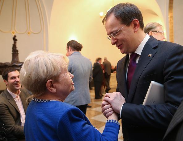 Композитор Александра Пахмутова и министр культуры РФ Владимир Мединский