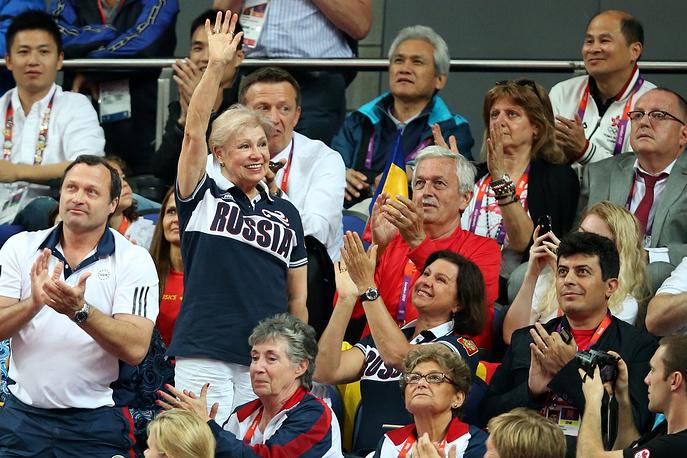 Лариса Латынина активно поддерживала сборную России по спортивной гимнастике на соревнованиях среди женских команд на XXX Олимпийских играх в Лондоне, 2012 год. В 1968, 1972 и 1976 годах Латынина тренировала олимпийскую сборную СССР