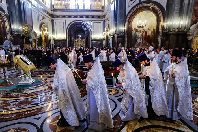 Отпевание Елены Образцовой в Храме Христа Спасителя