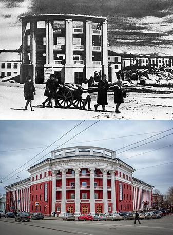 """Петрозаводск. Жители возвращаются в освобожденный город, 1944 год / Вид на гостиницу """"Северная"""""""