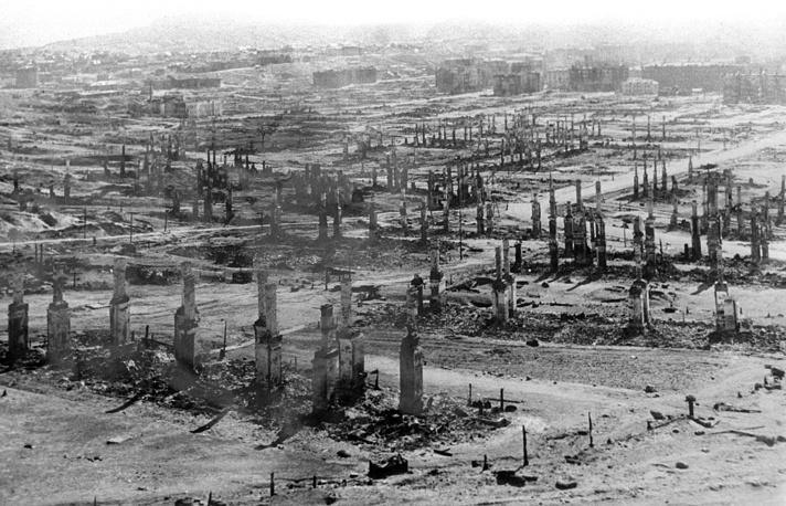 Мурманск. Вид на город после немецко-фашистских бомбардировок, 1942 год