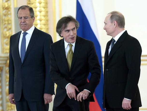 Глава МИД РФ Сергей Лавров, посол Австрии в РФ Эмиль Брикс и президент России Владимир Путин