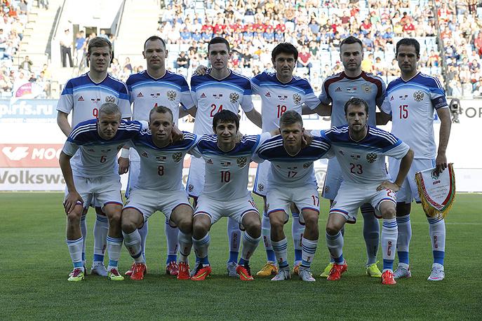Футболисты сборной России перед матчем с командой Белоруссии