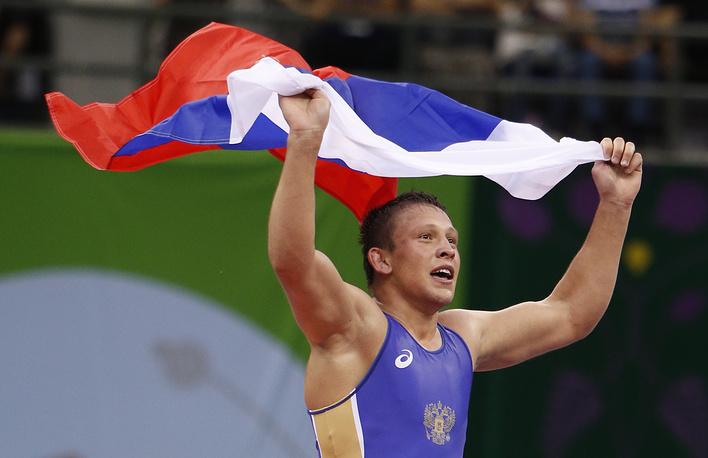 Борец греко-римского стиля Евгений Салеев, завоевавший золотую медаль Игр в Баку в весовой категории до 80 кг