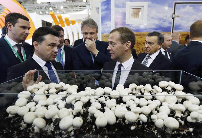 Губернатор Московской области Андрей Воробьев, премьер-министр РФ Дмитрий Медведев