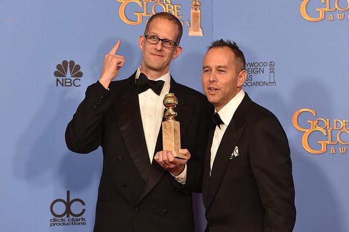 """Пит Доктер и Йонас Ривера получили награду за мультипликационную ленту """"Головоломка"""", которая стала обладателем """"Золотого глобуса"""" в номинации """"Лучший анимационный фильм"""""""