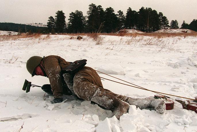 Практические занятия в учебном центре Витебской и Хинганской инженерно-саперной бригады инженерных войск Забайкальского военного округа, 1997 год