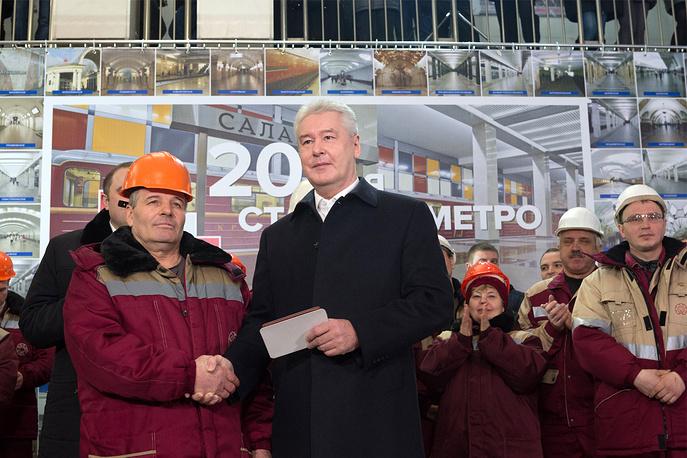 """""""Я хотел бы поблагодарить московских метростроителей, создавших лучшую систему метро в мире, которым мы можем гордиться"""", - сказал мэр Москвы на открытии станции """"Саларьево"""""""