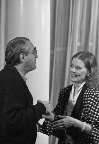 Мишель Легран и Людмила Сенчина во время гастролей французского композитора в Ленинграде, 1986 год
