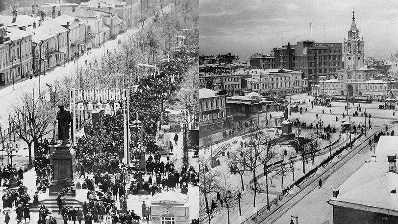 Памятник на Тверском бульваре, 1920-е годы (фото слева); Пушкинская площадь до реконструкции, 1935 год